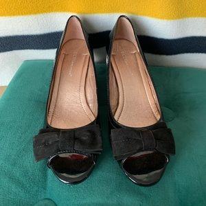 BCBGeneration Black Wedge Peep Toe Shoes